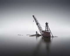 Industry (Dan Portch) Tags: minimal fine art kent cliffe pool industry rust rusty crane derelict flooded long exposure le minmal abandoned old lake quarry thames estuary