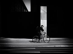 Biker (Sandy...J) Tags: contrast light darkness blackwhite bw black biker street streetphotography sw schwarzweis strasenfotografie stadt city monochrom man mono urban olympus