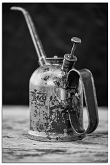 Old Oil Can (Bear Dale) Tags: old oil can black white blackwhite noiretblanc nikond850 nikkor afs micro 105mm f28g ifed vr ulladulla southcoast new south wales shoalhaven australia beardale lakeconjola fotoworx milton nsw nikon d850 photography framed monocromo macro monochrome dof depthoffield
