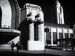 2 x 2 (Feldore) Tags: helsinki central station street photography statues soldiers juxtaposition collecting finland architecture feldore mchugh em1 olympus 1240mm light shadows standing
