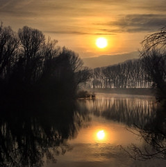 The river in my homeland (Robyn Hooz) Tags: brenta fiume river padova water acqua sunrise alba reflection riflessi mirror current corrente veneto