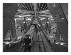 Amsterdam - Central station subway station (2) (AurelioZen) Tags: europe metherlands northholland amsterdam centralstationgvbsubwaystation train escalators people m5alstommetropolis