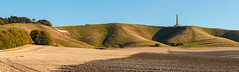 Cherhill Down with White Horse and Monument (Keith in Exeter) Tags: cherhill wiltshire chalk hill down horse figure field earth tree monument tower sky panorama photomerge landscape