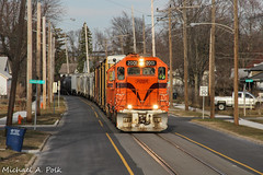 CSS 2001 @ Michigan City, IN (Michael Polk) Tags: chicago south shore bend railroad emd gp382 2001 freight train pf10 10th street running michigan city indiana interurban