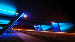 Silkeborgvej by night (Steenjep) Tags: herning jylland jutland danmark denmark bro bridge vej road street motorvej motorway lys light blue blå concrete construction