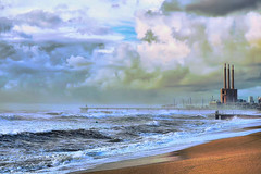 The Pier against the waves (Fnikos) Tags: sea water mar mare wave rock bridge pont puente architecture construction pier sky skyline landscape seascape city building tower cloud coast beach bay shore seashore sand wind windy outdoor