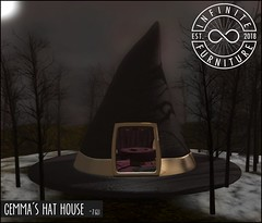 Infinite - Gemma's Hat House (Divine Falodir (Infinite)) Tags: modern contemporary gypsy second life salem halloween magic velvet rustic wood cloth witch hat house architecture fantasy rp fabulous
