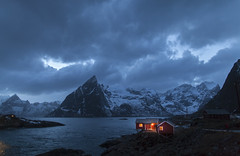 Night-time (Joost10000) Tags: mountain mountains sky clouds water sea ocean fjord hamnoy lofoten islands landscape landschaft bluehour blauestunde lapland norway noorwegen norwegen arctic winter cabin hut village canon5d canon eos travel beauty scenic outdoors natur nature snow ice