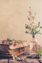 Like yesterday (Ro Cafe) Tags: nikkor105mmf28 sonya7iii stilllife flowers romantic setup waxflowers littlebottle books vintage textured