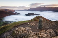 Cat Bells (Rich Walker Photography) Tags: cumbria canon landscapephotography cloudinversion trigpoint lakedistrict catbells mountain mountains clouds sky sunrise morning