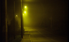 Fog #5 (32/100x) (vitalyperov) Tags: expiredfilm kodak fog road night 35mm 135mm film