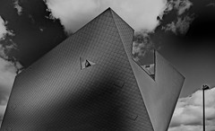 the triangle I (christikren) Tags: austria architecture blackandwhite christikren design europe facade window triangle grey kunst sky lines monochrome new panasonic landesgalerie kremsstein marte wachau dark building geometry himmel september