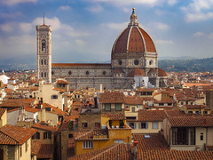 The Rooftops of Florence (RobertCross1 (off and on)) Tags: 1250mmf3563mzuiko brunelleschi catholic cityhall em5 europe firenze florence giotto italia italy omd olympus palazzovecchio renaissance santamariadelfiore toscana tuscany architecture bluesky campanile cathedral church city cityscape clouds dome landscape medieval palace palazzo roof tiles urban