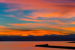 Lake of fire (L@nce) Tags: red sky clouds cloudy sunset ocean salishsea jamesbay victoria canada britishcolumbia nikon