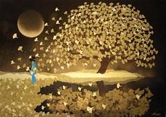 黄金の秋 - Golden Autumn (清水みのり - Artist) Tags: minorishimizu風 origami art artist ginkgo gold autumn wind 清水みのり 京おりがみ 折り紙 日本画 日本 芸術 絵画