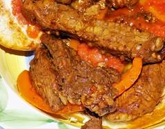 """""""B-Food"""".BB&B Sandwich (marieschubert1) Tags: beef steak bell peppers bun meat vegatables bread dough marinate """"macro mondays"""""""