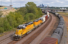"Westbound Transfer in Kansas City, KS (""Righteous"" Grant G.) Tags: up union pacific railroad railway locomotive train trains west westbound transfer freight emd power kansas city engine"