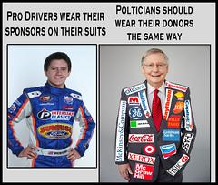 politician suit meme (rjk9601) Tags: politicians logos humor politics meme mitch mcconnell republicans donors suits nascar driver sponsors patches funny