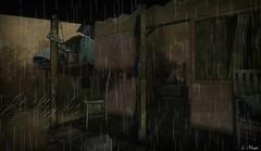 Hoodoo (Loegan Magic) Tags: secondlife blackbayoulake porch house sneakers shoes chair weeds rain shack bed
