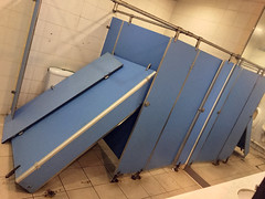 Broken Bathroom Stall (cowyeow) Tags: mcdonalds kowlooncity kowloon crap toilet restroom bathroom funny funnysign funnychina badsign wrong stall public asia asian hongkong dumb silly fail stupid funnyhongkong 香港 china stalls broken fallen dangerous