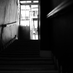 Step by step to the light (RS PhotoArt) Tags: chile santiago barrioitalia zen mindfulness 50mm planar zeiss carl m9 leica stairs light darkness square monochrome bw photography street