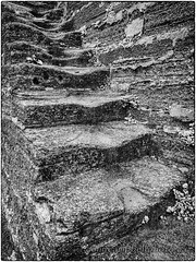 Stairs on a Moat Wall (Colin Campbell Photography) Tags: castillodesanmarcos florida staugustine blackandwhite coquina moat monochrome stairs steps