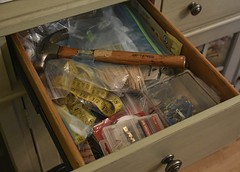 The Credenza Junk Drawer (Happy Autumn Everyone!!!) Tags: odc randomstuff junkdrawer credenza hammer picturehooks sticks tapemeasure inthediningroom