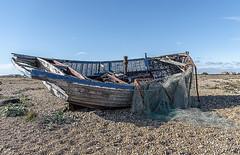 Discarded (David Feuerhelm) Tags: abandoned nikkor coast boat shingle beach wreck nets wideangle dungeness kent uk england nikon d750 2470mmf28