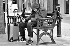 Drat Odd Socks (WorcesterBarry) Tags: blackwhite england street streetphotography streetphoto anger travel places people photographers portrait funny fun candid lovebw kindness monochrome humour display outdoors old vintage seating case citycentre sleep guys jokers style