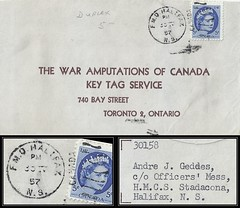 Nova Scotia / Naval Postal History - 30 April 1957 - FLEET MAIL OFFICE / H.M.C.S. STADACONA / HALIFAX, N.S. (duplex cancel / postmark) to Toronto 2, Ontario, Canada (Treasures from the Past) Tags: circulardatestamp postalwayoffice postmaster postoffice novascotia postalhistory ns county splitring brokencircle splitcircle postmark cancel cancellation marking son mail letter stamp canada novascotiapostalhistory canadapost duplex andrejgeddes andrejulesgeddes fleetmailoffice fmo hmcsstadacona