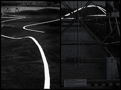 Kalasatama Diptych (pni) Tags: diptych monochrome park pavement paint line bridge isoisänsilta farfarsbron chair pylon metal water sea kalasatama fiskehamn helsinki helsingfors finland suomi pekkanikrus skrubu pni