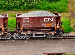Riding the Shove, or Racing the Geese (knutsonrick) Tags: train railcar limestone taconite cn cnrailway duluth nationalsteelcar geese
