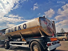 milk 🐂 (Ola 竜) Tags: bluesky whiteclouds tankerwithmilk car road truck tankers machine vehicle lorry deliveryvan skyscape ride milk cow image picture cows metallic reflections ontheroad throughglass fromcar passingby riding sky cloud urban industrial s7 hdrish wheels