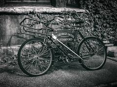 Stamford, Lincolnshire (Reynard_1884) Tags: olympusomdem5 olympus bicycle riverwelland southkesteven greatbritain micro43rds em5 bike mirrorless monotone microfourthirds blackwhite monochrome wetplate blackandwhite thegeorgehotel artinbw mono bw deliverybike mu43 stamford england lincolnshire uk olympusomd