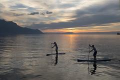 Montreux, Switzerland (twohamstersca) Tags: montreux switzerland sunset clouds orange colour ocean canon5d