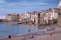 Cefalu Beach (Stefan Waldeck) Tags: people village town facades houses beach sand water waves sea mediterraneansea cefalu sicily italy 2018 netzki stefanwaldeck stefan waldeck