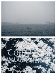 5 diptychs about first snow: 1 (miemo) Tags: balticsea europe finland boat coffee diptych em5mkii ferry helsinki kruununhaka olympus olympus1240mmf28 omd outdoors sea ship snow snowing text winter