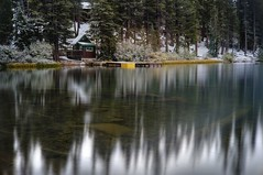 Visiting the witch's home (PeterThoeny) Tags: lakemamie inyonationalforest mammothlakes california tree forest serene wood lake water reflection waterreflection cabin shed boatlanding landscape day outdoor ndfilter neutraldensityfilter sony a7 a7ii a7mii alpha7mii ilce7m2 fullframe vintagelens dreamlens canon50mmf095 canon 1xp raw photomatix hdr qualityhdr qualityhdrphotography longexposure fav200