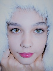 cold snap (zoeclairebryant) Tags: pretty blue brown unique eyes beautiful young girl teenager stunning cold face fur 13