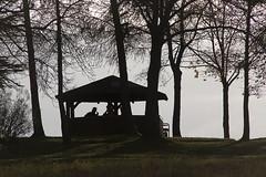 Wanderer in der Schutzhütte der Bubenhäuser Höhe (heinrich.hehl) Tags: landschaft berg schutzhütte scherenschnitt silhouette deutschland hessen rheingau eltville rauenthal