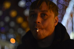 _DSC5099 (Aris_Totel) Tags: light lights shing blinke man male smoke city bokeh bulb