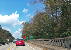 On The Lumber River Bridge. (dccradio) Tags: lumberton nc northcarolina robesoncounty outdoor outdoors outside sky bluesky cloud clouds cloudformation tree trees greenery leaf leaves branch branches treebranch treebranches alamacroad toyota corolla lumbertonsign citylimits enteringlumberton bridge lumberriverbridge lumberriver roadsigns speedlimit 35mph construction constructionsign lowshoulder noshoulder rail paved pavement