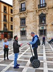 Spain: Granada, trying out a Segway (Henk Binnendijk) Tags: granada andalucia andalucía andalusia spain spanje españa street seway touristtrap candid plazanueva