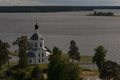 Church of Exaltation of Holy Cross and Lake Seliger (Lyutik966) Tags: church religion orthodoxy architecture island lake seliger russia water dome window nature monastery nilostolbenskayadeserts