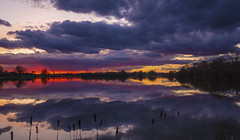 Cloudy Sunset (CraDorPhoto) Tags: canon6d landscape waterscape lake calm reflection water clouds sky colourful outdoors nature uk cambridgeshire