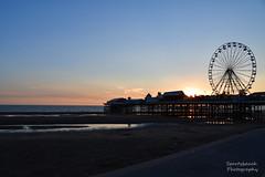 Sunset on the beach (Sportybeach Photography (Jonnywalker)) Tags: blackpool lancashire seafront seaside coast sea sky pier bluesky northwest promenade beach holiday shore centralpier sand sunset