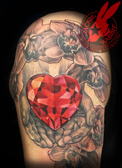orchid Crystal Diamond Gem Red Ruby heart in Hands Realistic 3D tattoo by Jackie Rabbit