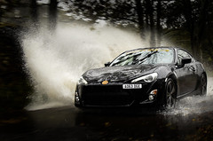 Splash! (Jamesylittle) Tags: water rain car toyota gt sports power puddle road black white speed autumn cars