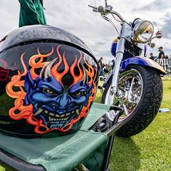 Demon RIde (Jerry Bowley) Tags: showandshine helmet showshine carshow britishcolumbia car radium columbiavalleyclassics motorcycle