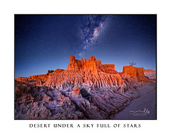 Starry skies over desert landscape (sugarbellaleah) Tags: desert outback stars night evening milkyway galaxy universe suns sky landscape arid dry drought texture lunettes weahered climate weather colour shape sand clay cracked earth australia nsw awe stunning amazing spectacular emotive fabulous travel tourism vacation explore roadtrip scenic picturesque twinkling starry